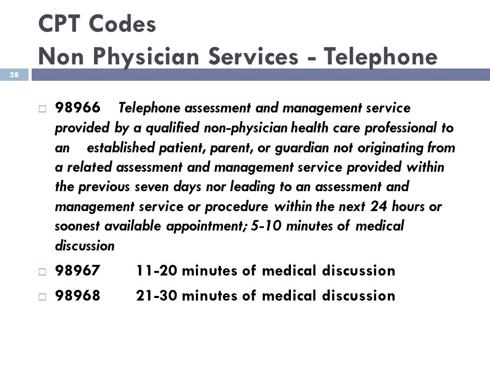 CPT Codes Non Physician Services - Telephone