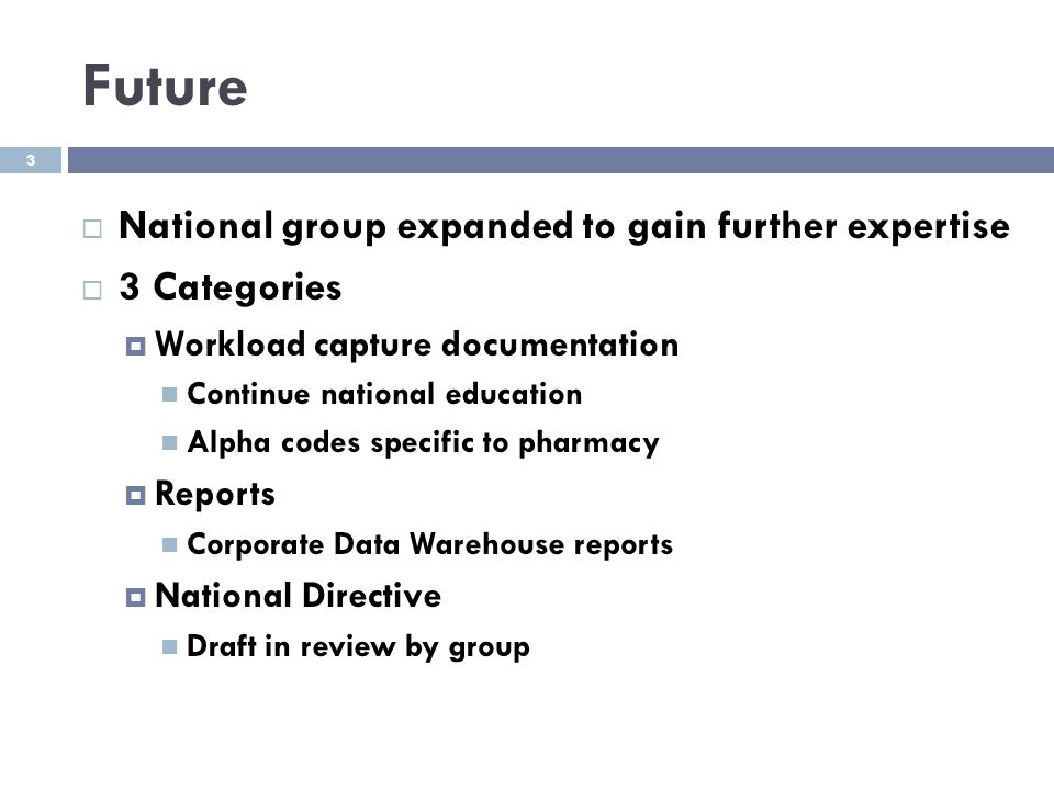 Future National group expanded to gain further expertise 3 Categories