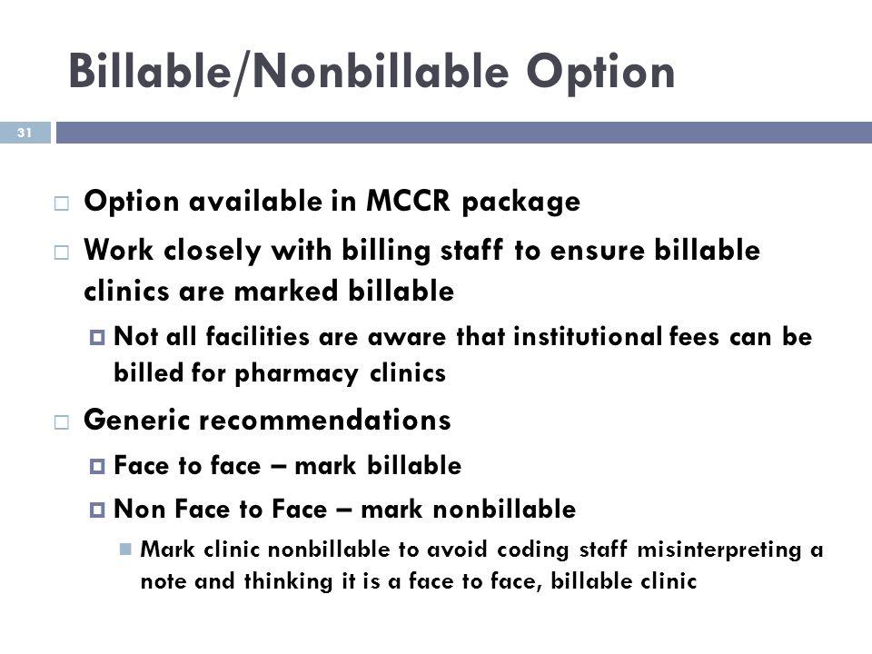 Billable/Nonbillable Option