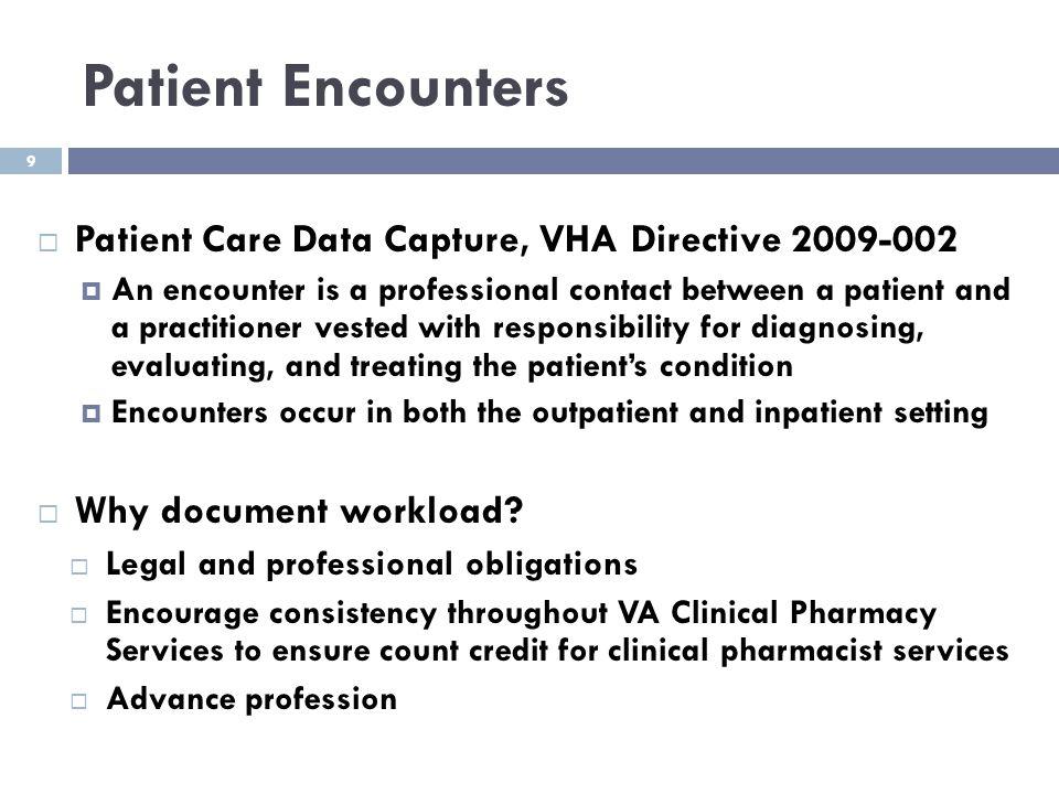 Patient Encounters Patient Care Data Capture, VHA Directive 2009-002