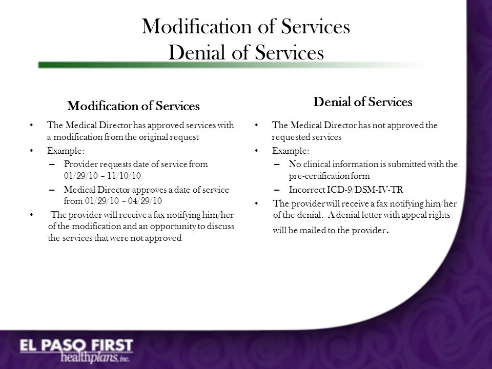 Modification of Services Denial of Services