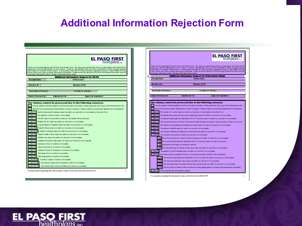 Additional Information Rejection Form