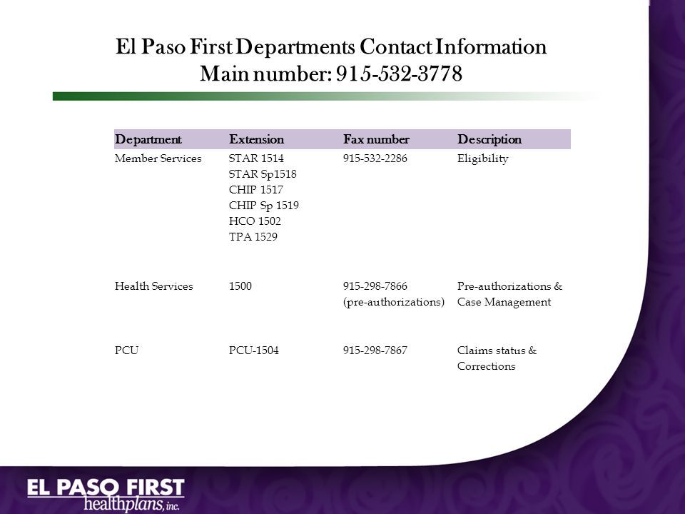 El Paso First Departments Contact Information Main number: 915-532-3778 Department. Extension. Fax number.