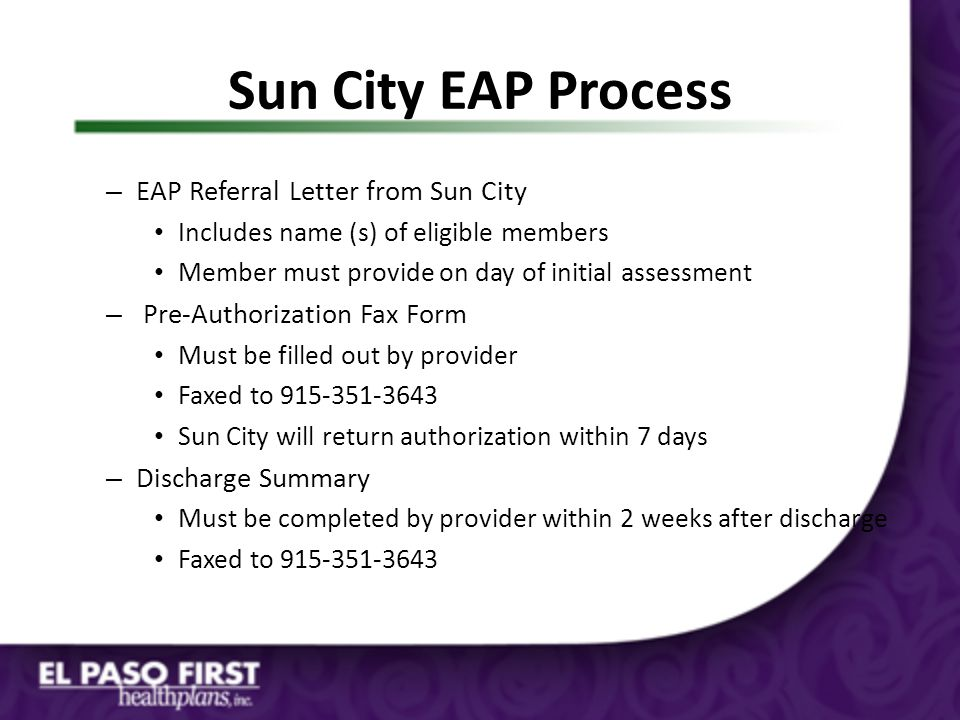 Sun City EAP Process EAP Referral Letter from Sun City
