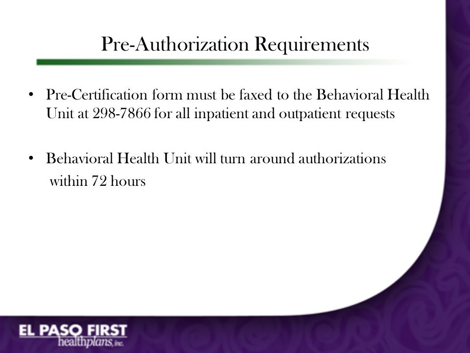 Pre-Authorization Requirements