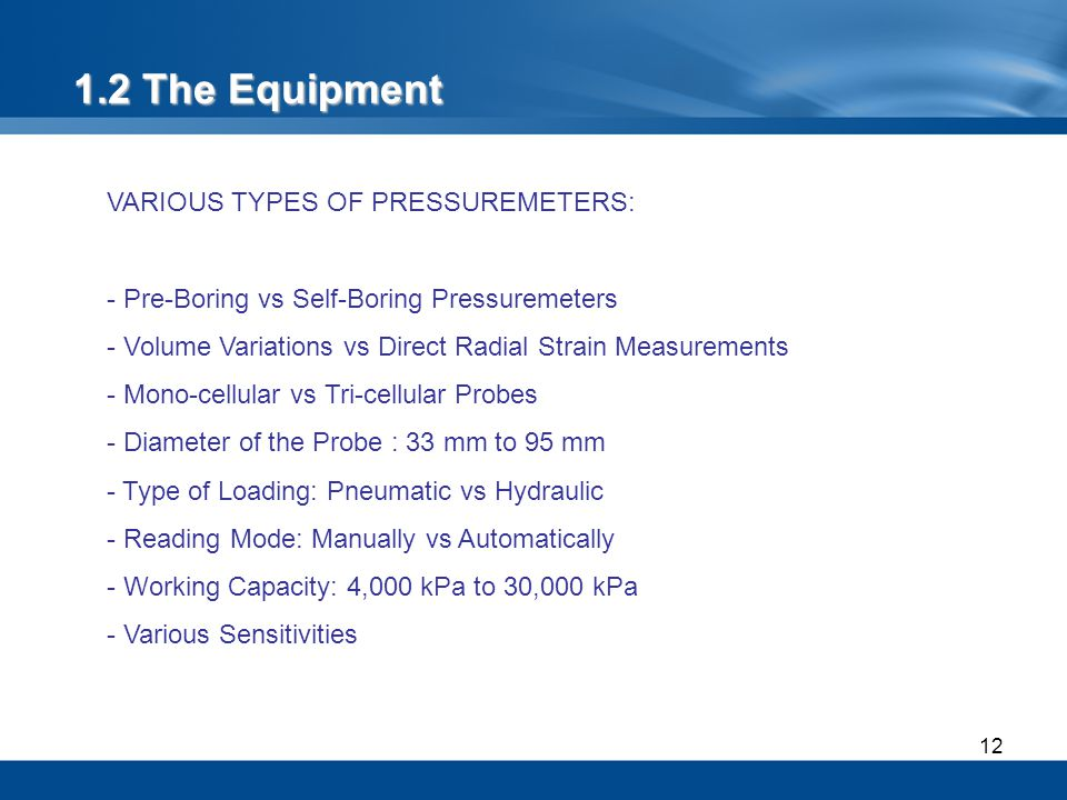 1.2 The Equipment VARIOUS TYPES OF PRESSUREMETERS: