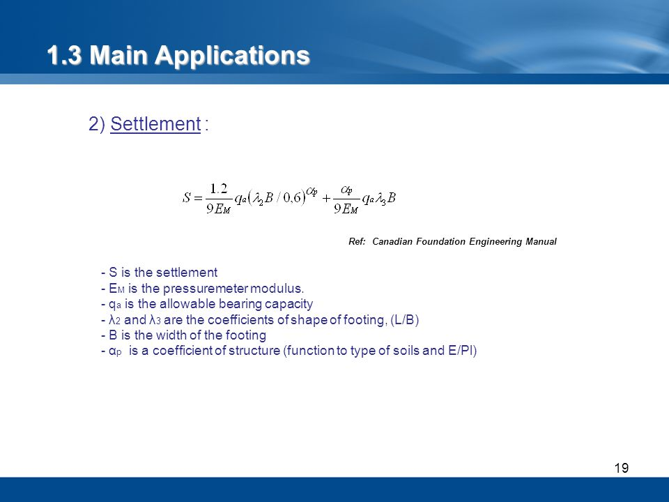 1.3 Main Applications 2) Settlement : - S is the settlement