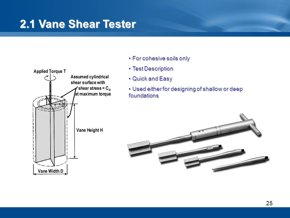2.1 Vane Shear Tester For cohesive soils only Test Description
