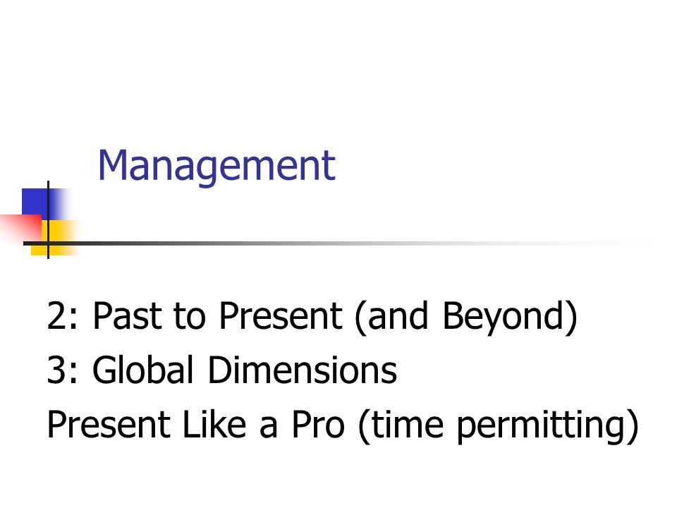 Management 2: Past to Present (and Beyond) 3: Global Dimensions