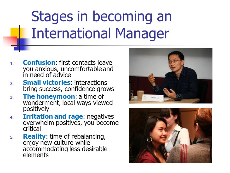 Stages in becoming an International Manager