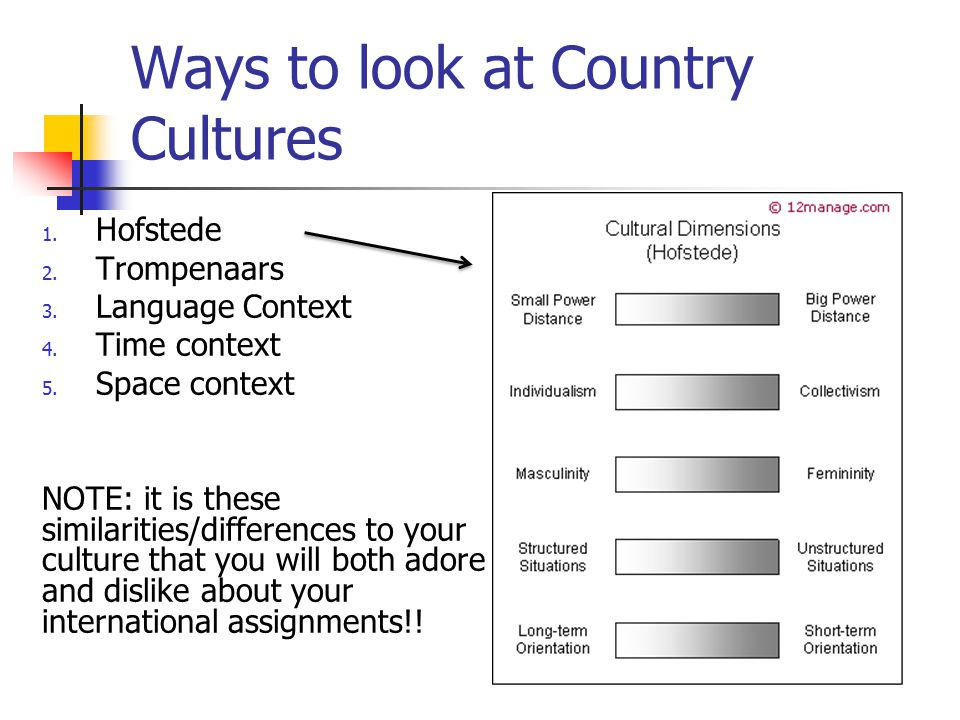 Ways to look at Country Cultures