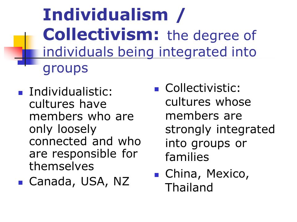 Individualism / Collectivism: the degree of individuals being integrated into groups
