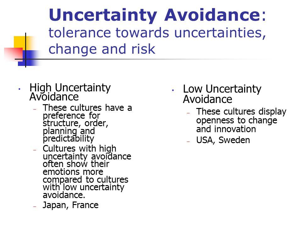 Uncertainty Avoidance: tolerance towards uncertainties, change and risk