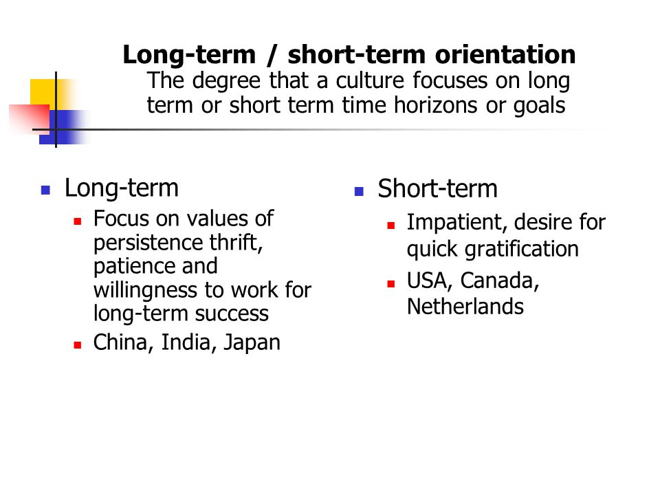 Long-term / short-term orientation The degree that a culture focuses on long term or short term time horizons or goals