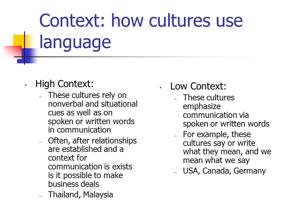Context: how cultures use language