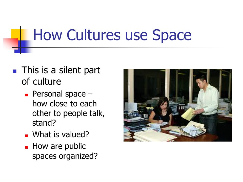 How Cultures use Space This is a silent part of culture