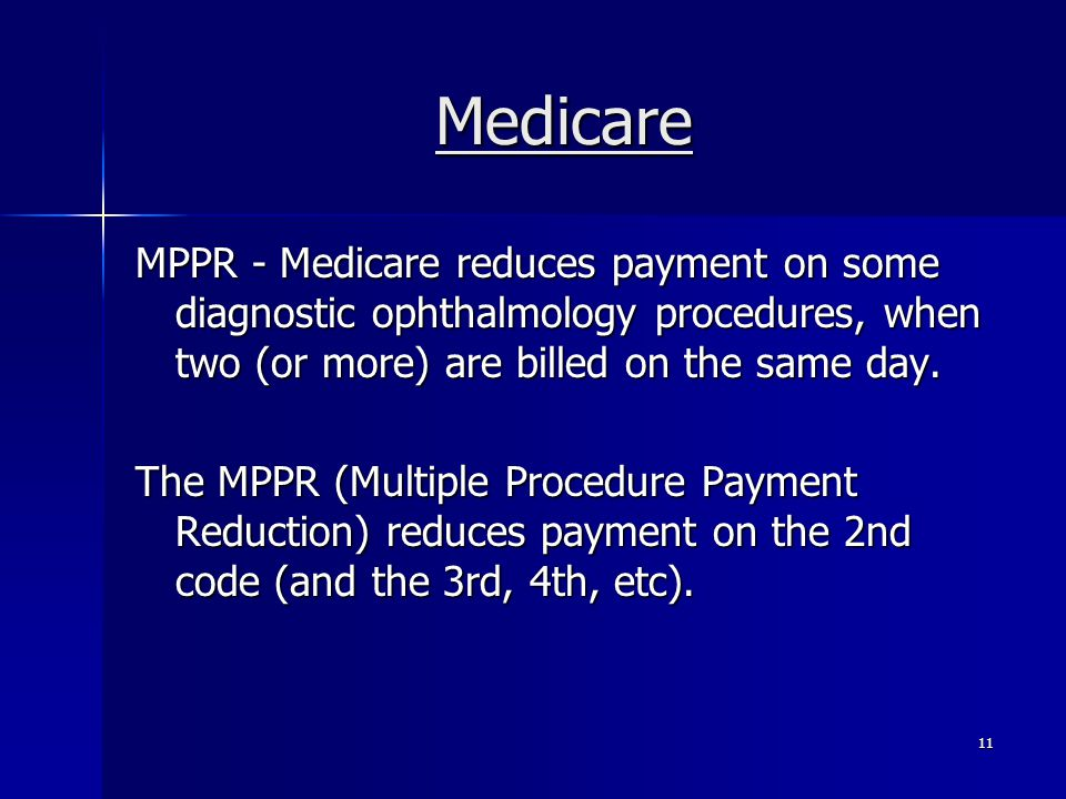 Medicare MPPR - Medicare reduces payment on some diagnostic ophthalmology procedures, when two (or more) are billed on the same day.