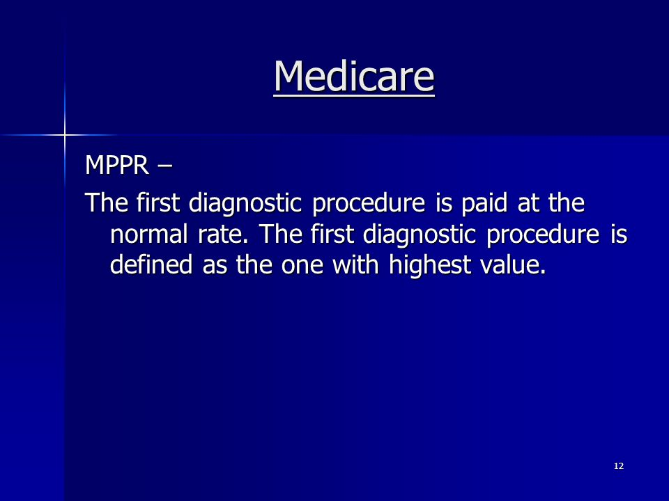 Medicare MPPR – The first diagnostic procedure is paid at the normal rate.