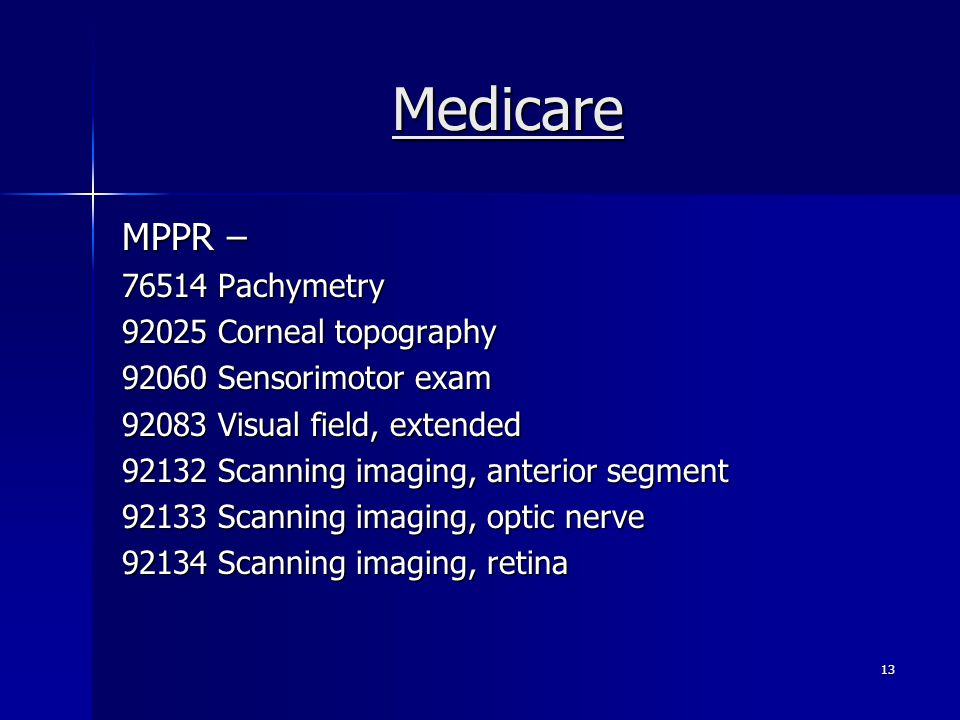 Medicare MPPR – 76514 Pachymetry 92025 Corneal topography