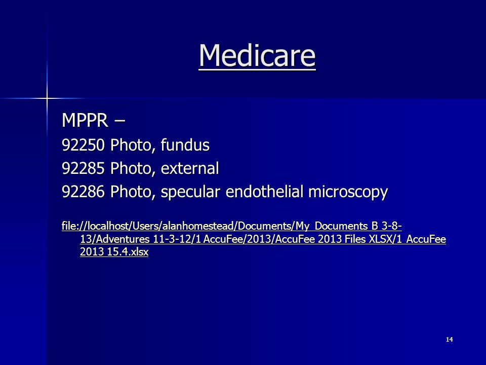 Medicare MPPR – 92250 Photo, fundus 92285 Photo, external