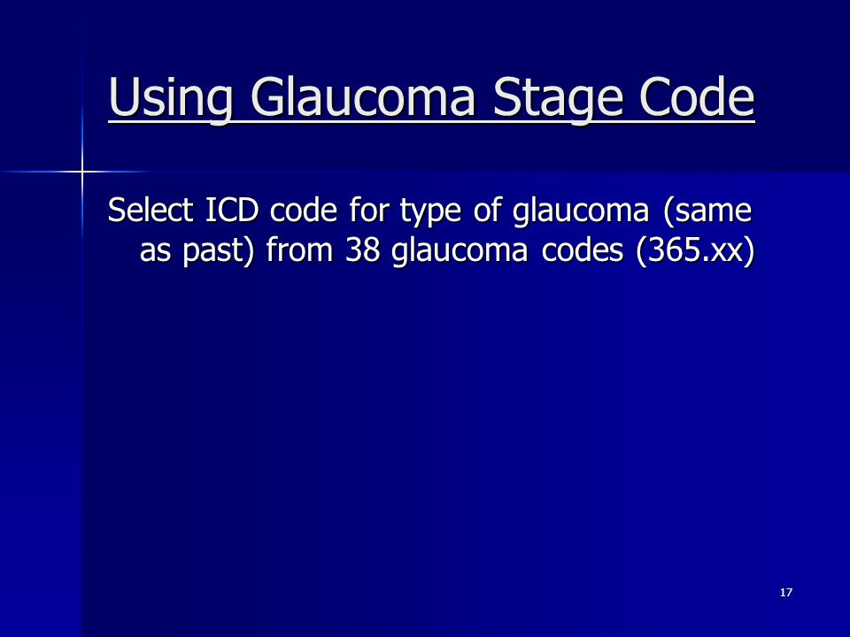 Using Glaucoma Stage Code
