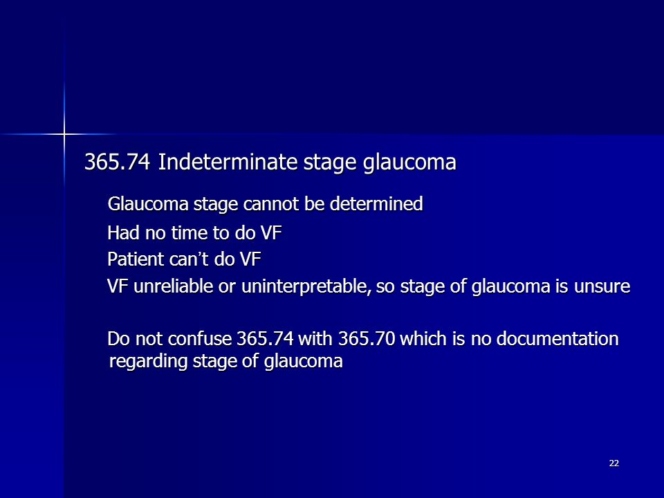 Glaucoma stage cannot be determined