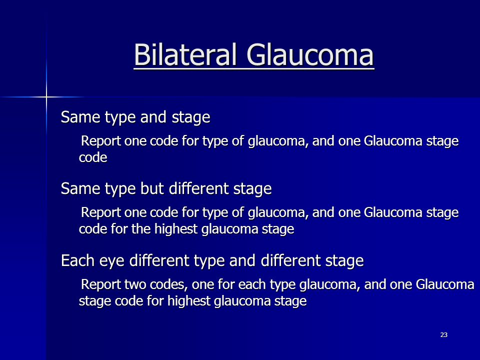 Bilateral Glaucoma Same type and stage