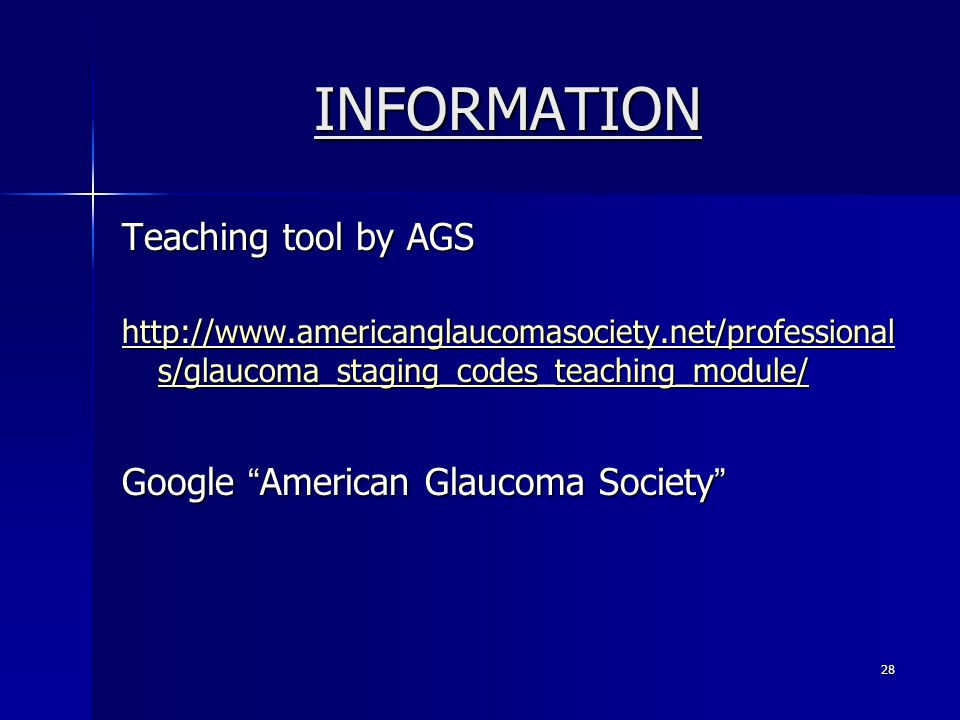INFORMATION Teaching tool by AGS Google American Glaucoma Society