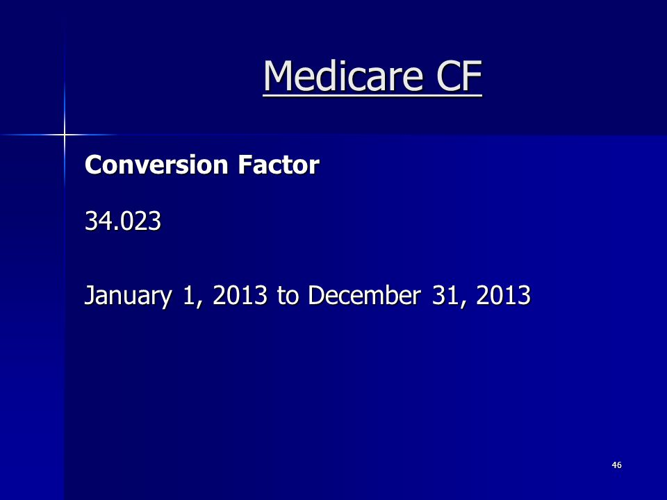 Medicare CF Conversion Factor 34.023 January 1, 2013 to December 31, 2013