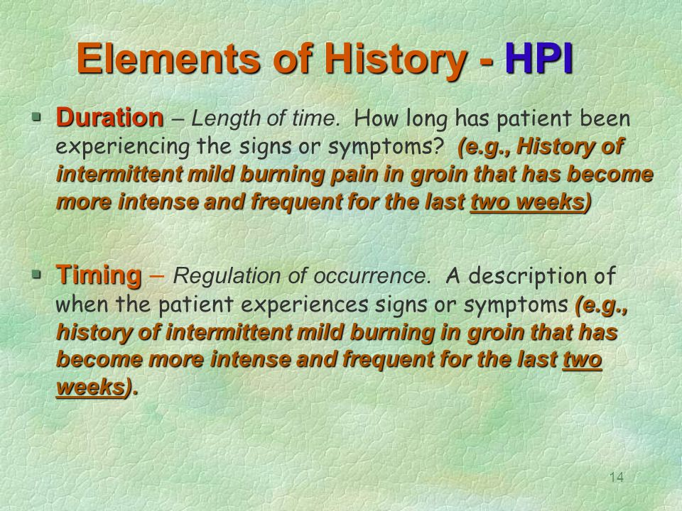 Elements of History - HPI