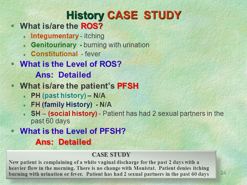 History CASE STUDY What is/are the ROS What is the Level of ROS