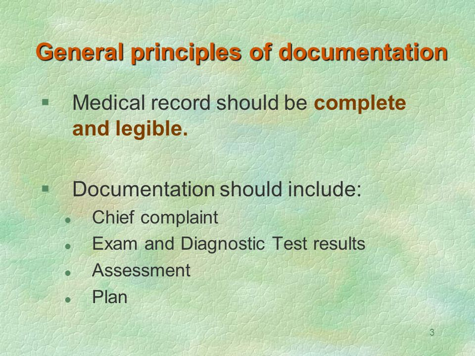 General principles of documentation