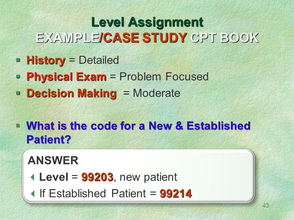Level Assignment EXAMPLE/CASE STUDY CPT BOOK