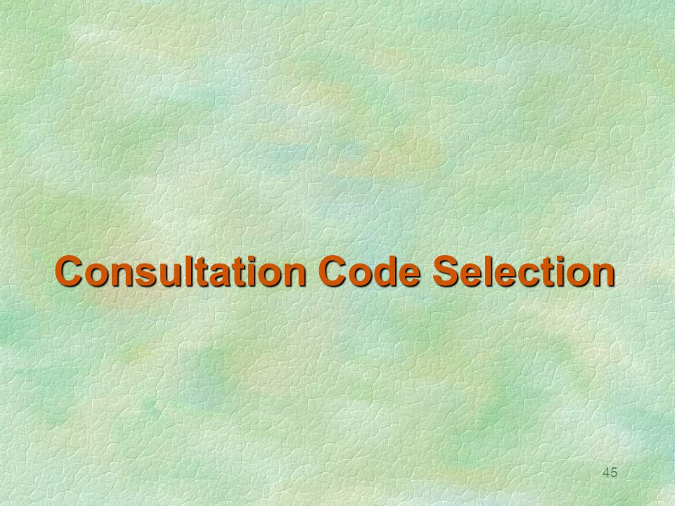 Consultation Code Selection