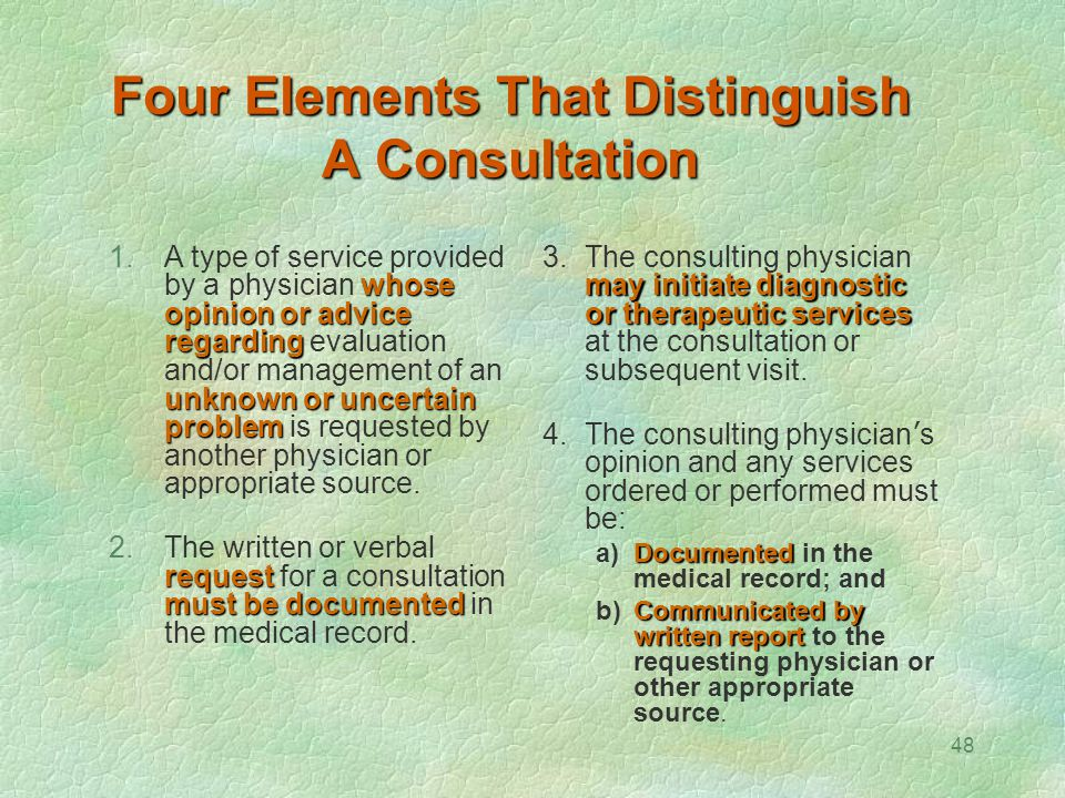 Four Elements That Distinguish A Consultation