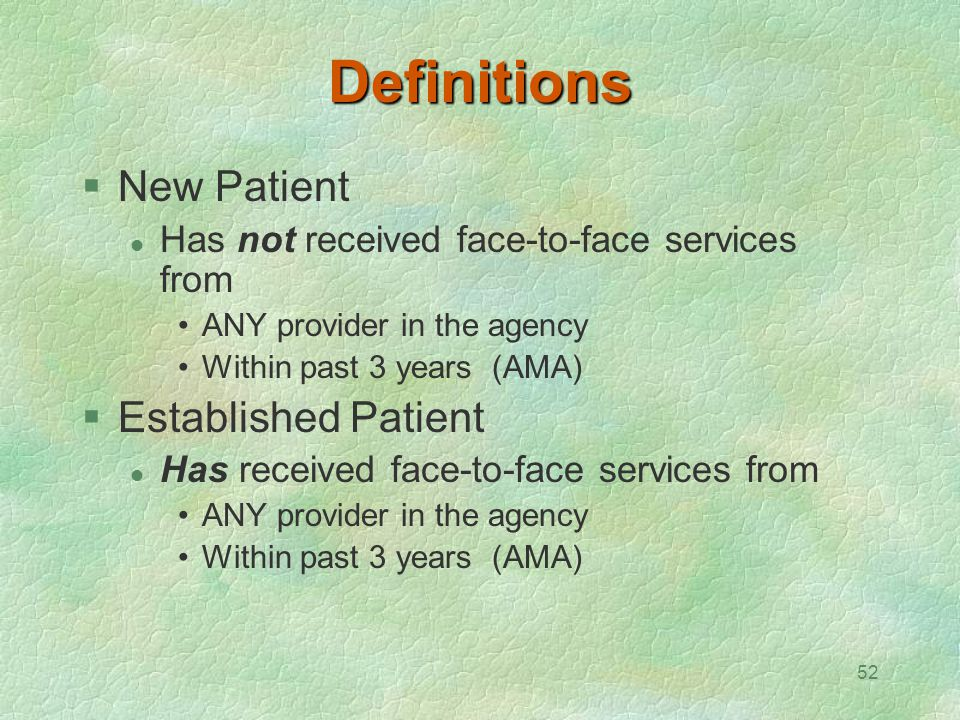 Definitions New Patient Established Patient