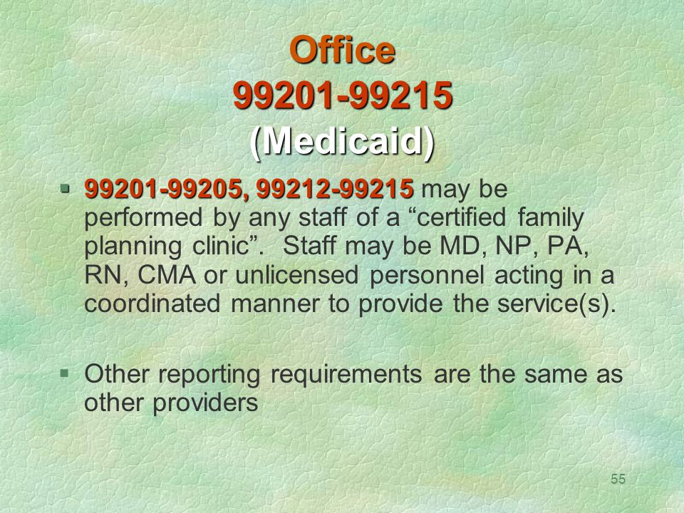 Office 99201-99215 (Medicaid)