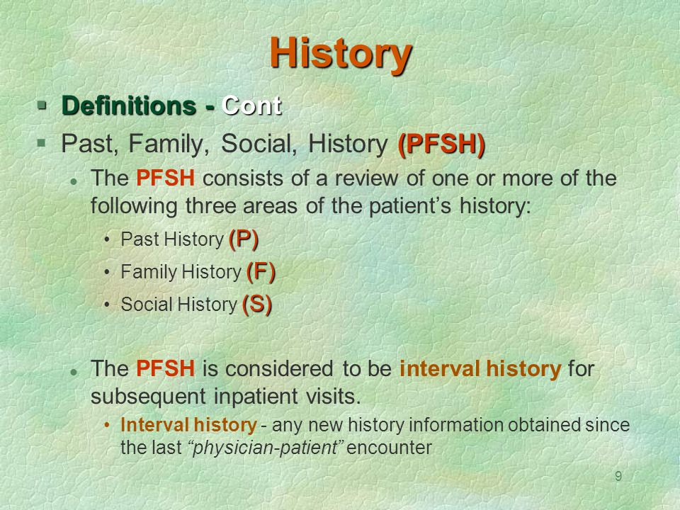 History Definitions - Cont Past, Family, Social, History (PFSH)