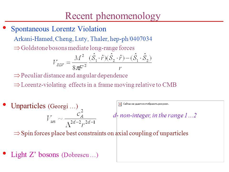 Recent phenomenology Spontaneous Lorentz Violation