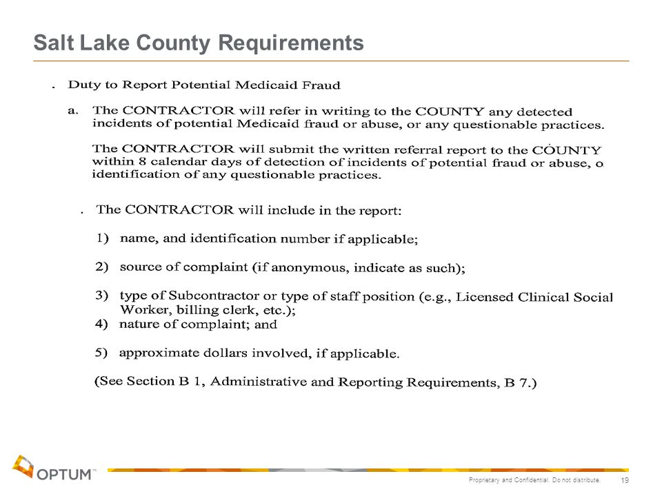 Salt Lake County Requirements
