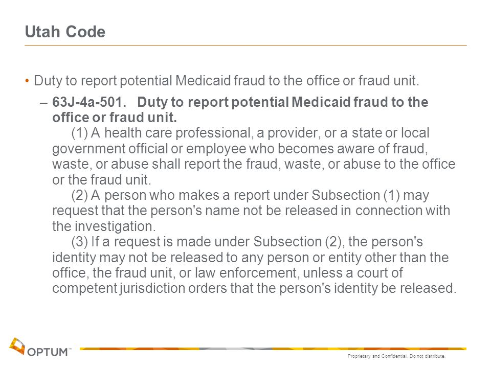 Utah Code Duty to report potential Medicaid fraud to the office or fraud unit.