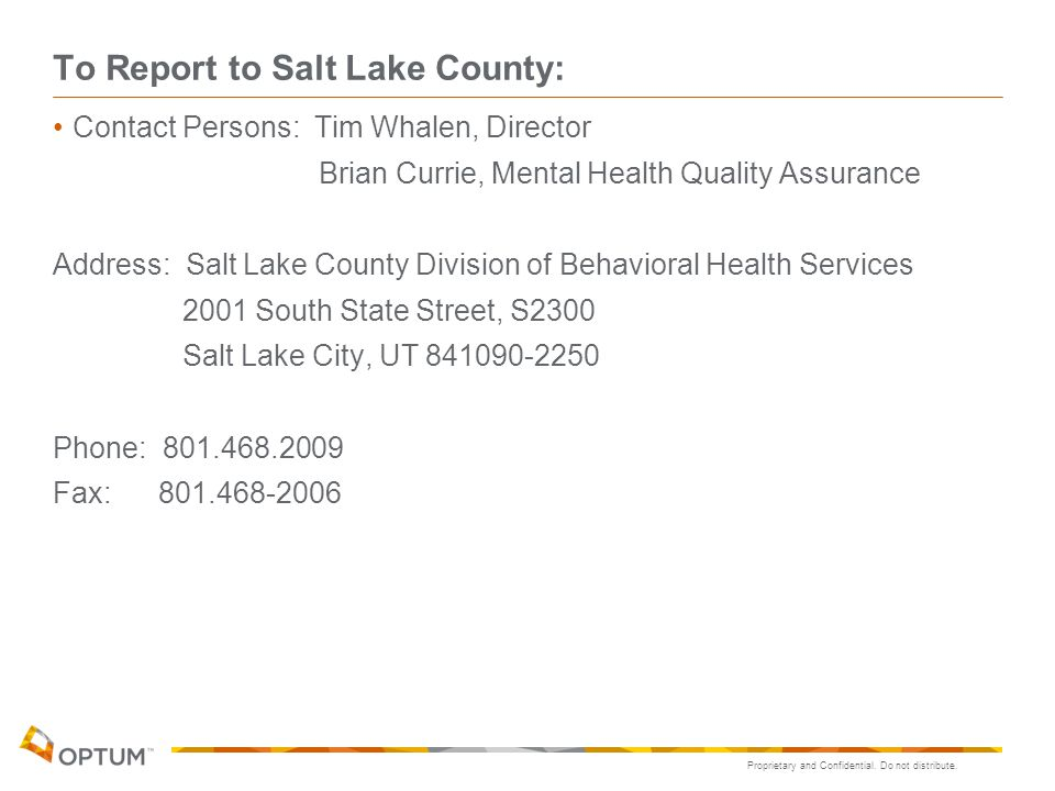 To Report to Salt Lake County: