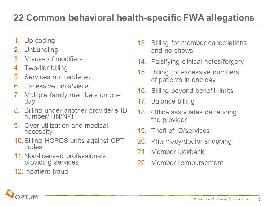 22 Common behavioral health-specific FWA allegations