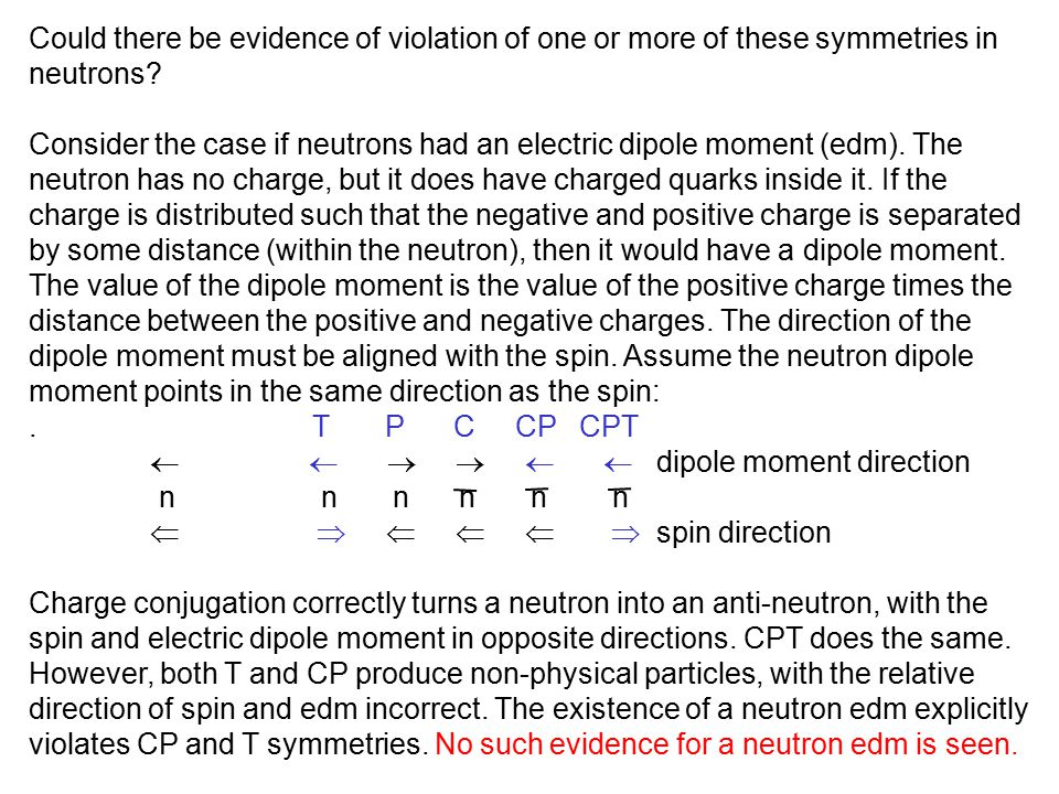 Could there be evidence of violation of one or more of these symmetries in neutrons