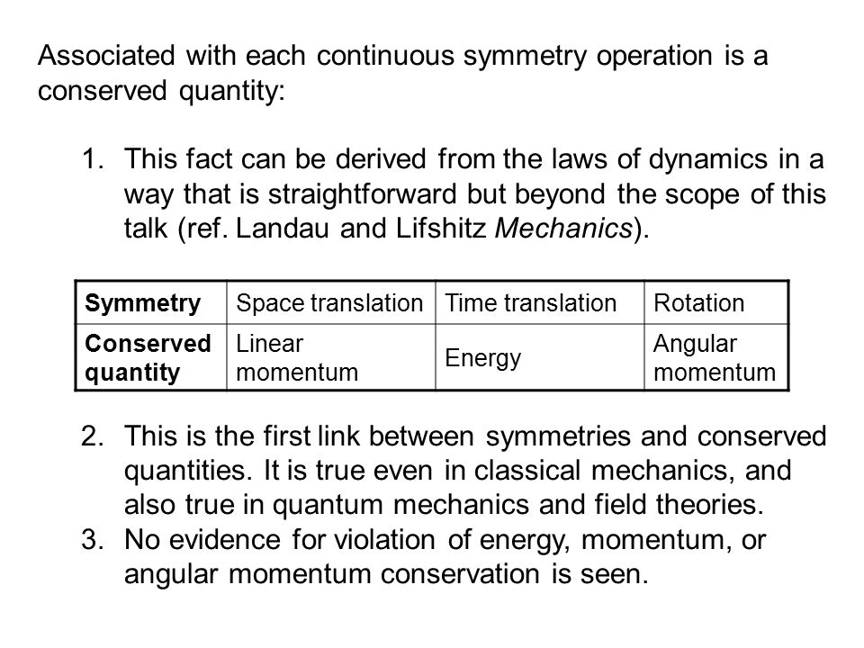 Associated with each continuous symmetry operation is a conserved quantity: