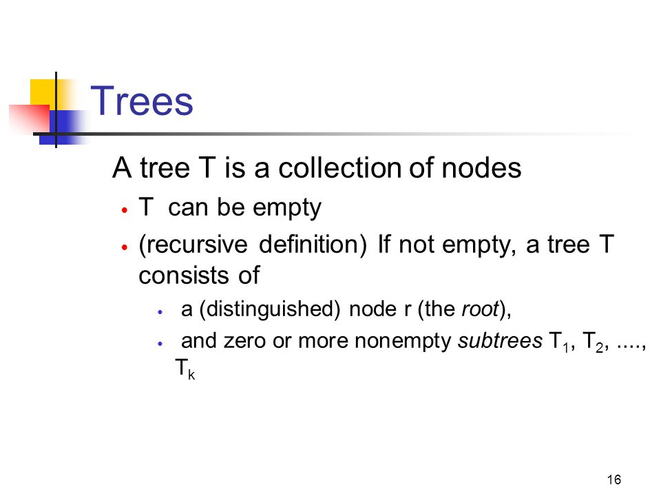 Trees A tree T is a collection of nodes T can be empty