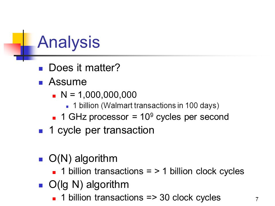 Analysis Does it matter Assume 1 cycle per transaction O(N) algorithm