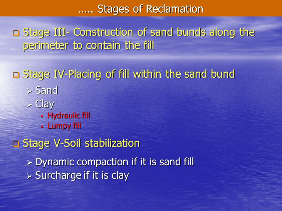 ….. Stages of Reclamation