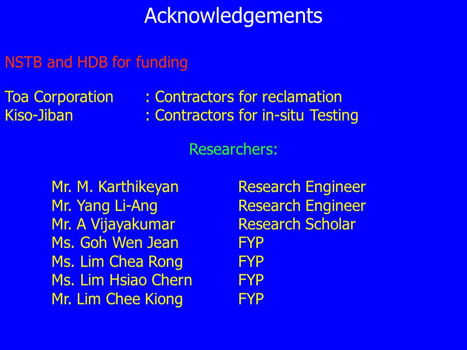 Acknowledgements NSTB and HDB for funding