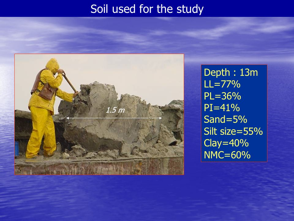 Soil used for the study Depth : 13m LL=77% PL=36% PI=41% Sand=5%